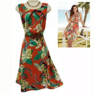 Size 14▪️TROPICAL FLORAL PRINT DRESS W/BELT Summer